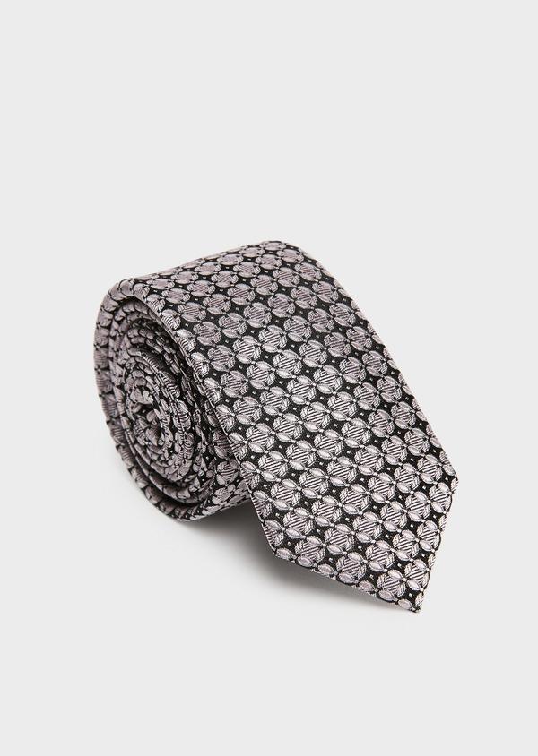 Cravate fine en soie rose à motif fantaisie noir - Father and Sons 26554