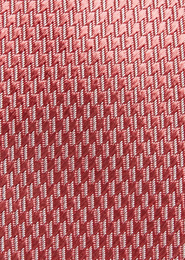 Cravate fine en soie rose à motifs géométriques blancs - Father and Sons 26595