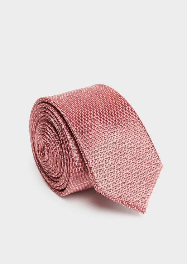 Cravate fine en soie rose à motifs géométriques blancs - Father and Sons 26594