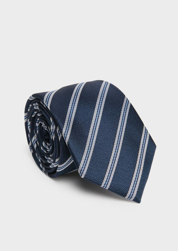 Cravate large en soie indigo à motif fantaisie blanc - Father and Sons 26678