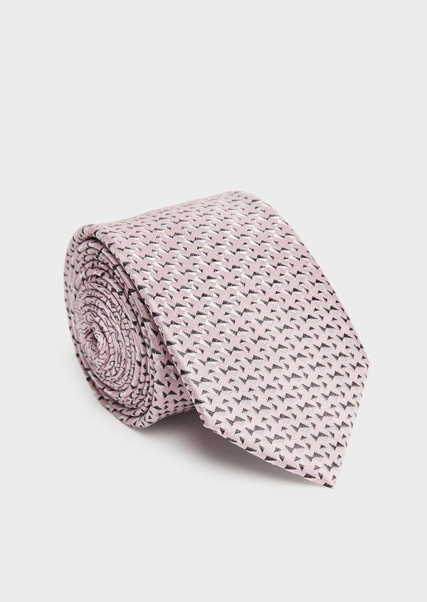 Cravate large en soie rose clair à motifs géométriques noirs - Father and Sons 26670