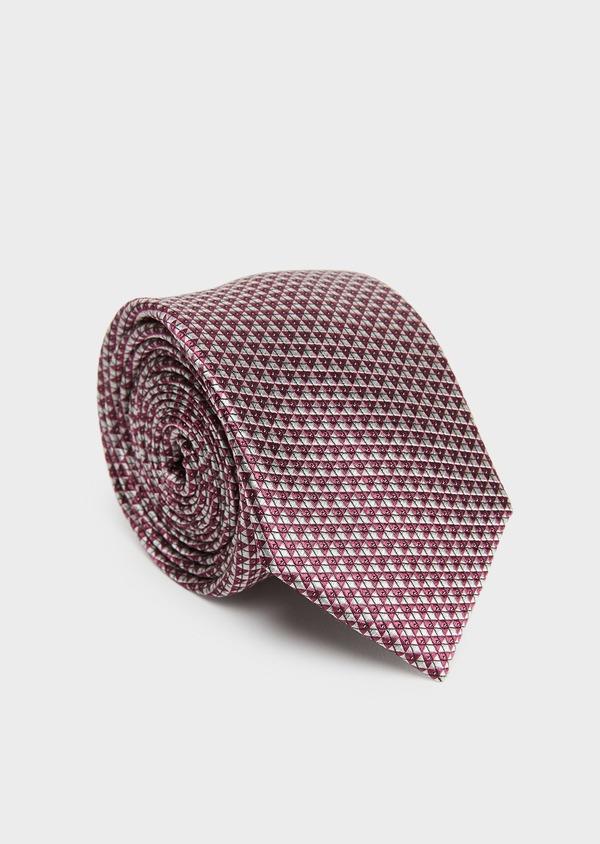 Cravate large en soie rose à motifs géométriques blancs - Father and Sons 26686