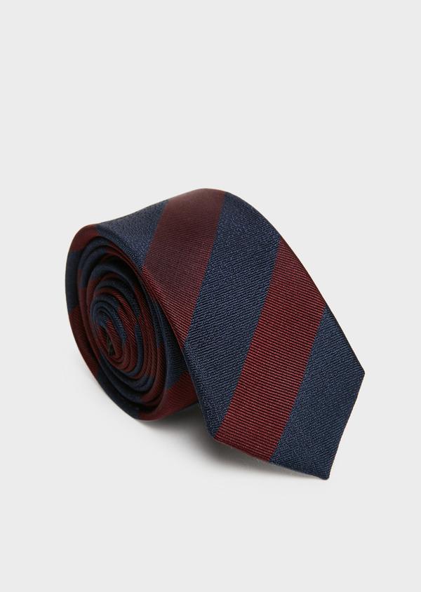 Cravate fine en soie bordeaux à motif fantaisie - Father and Sons 26646