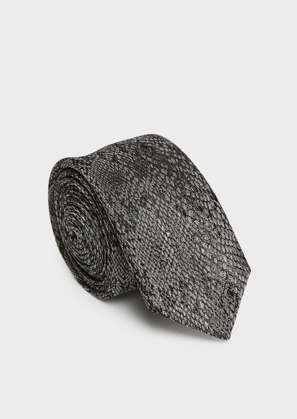 Cravate fine en soie grise foncée à motif fantaisie ton sur ton - Father and Sons 26622