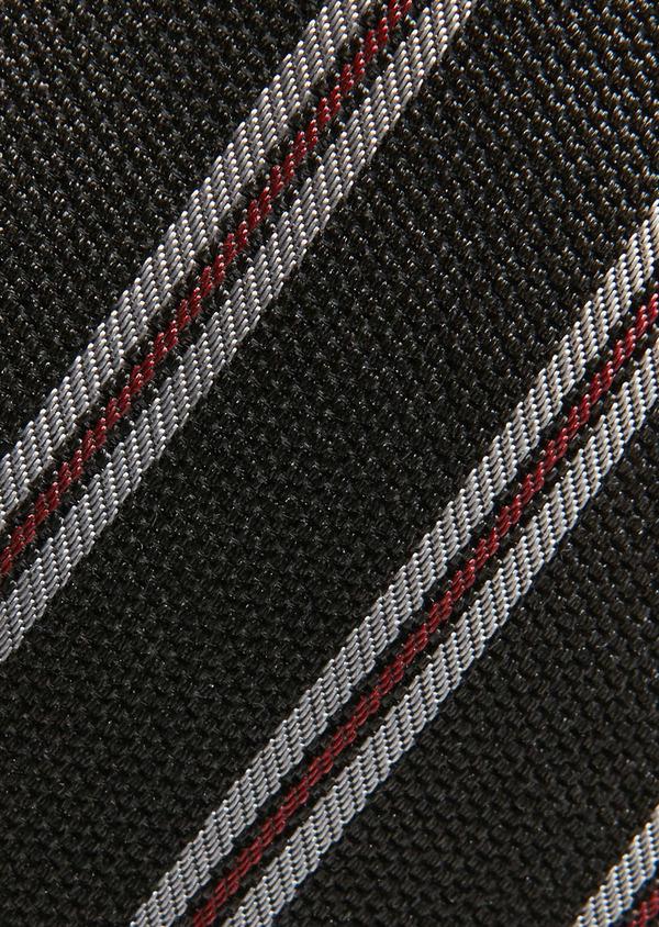 Cravate fine en soie grise à motif fantaisie gris clair et rouge - Father and Sons 26607