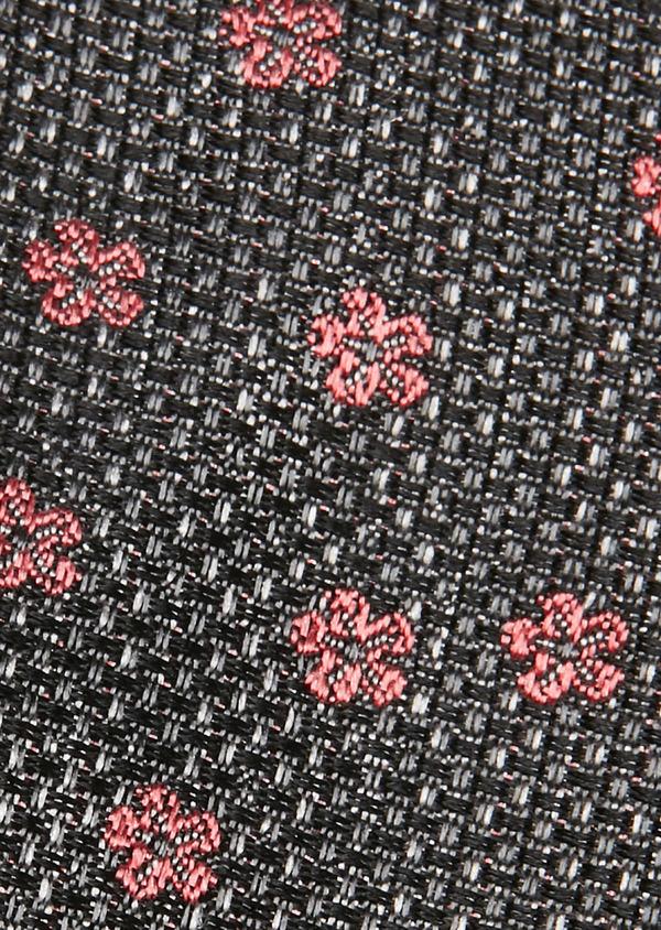 Cravate fine en soie gris à motif fantaisie rouge