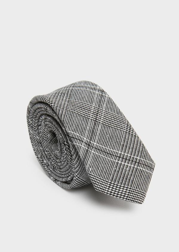 Cravate fine grise à motif fantaisie noir - Father and Sons 26602