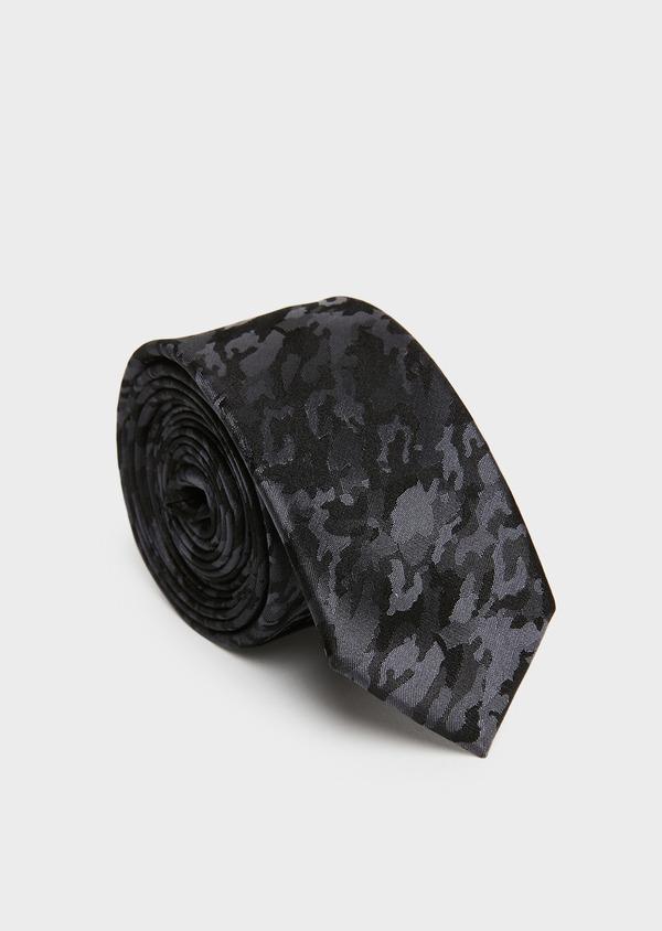 Cravate fine en soie gris foncée à motif fantaisie noir - Father and Sons 26614