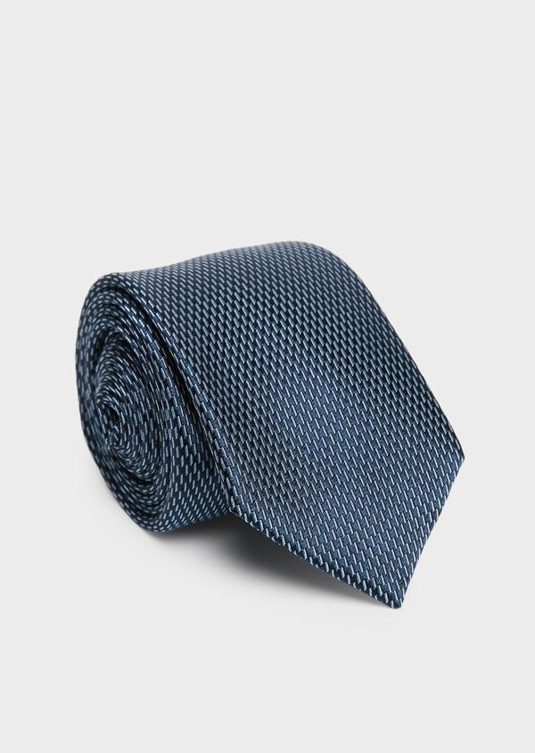 Cravate large en soie indigo à motif fantaisie bleu clair - Father and Sons 26690