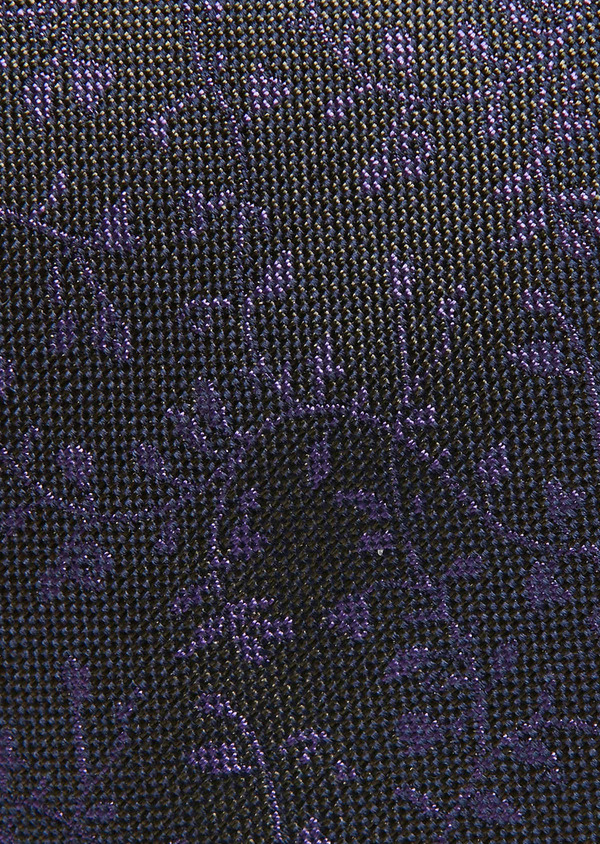 Cravate fine en soie kaki à motif fantaisie violet - Father and Sons 26631