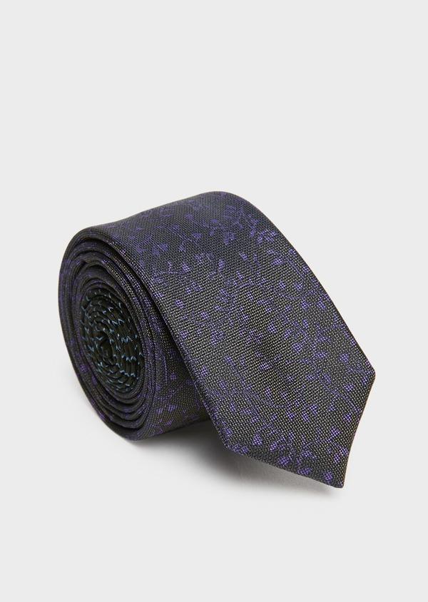 Cravate fine en soie kaki à motif fantaisie violet - Father and Sons 26630