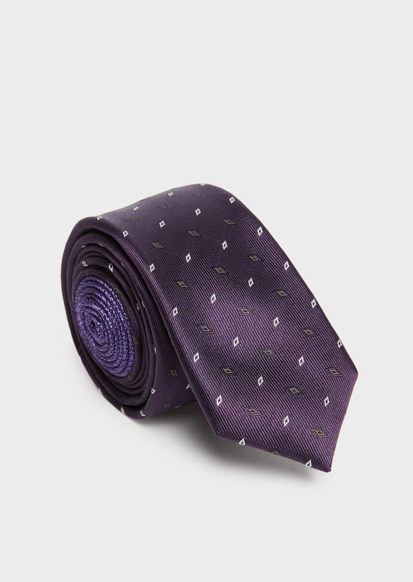 Cravate fine en soie violette à motifs géométriques gris - Father and Sons 26626