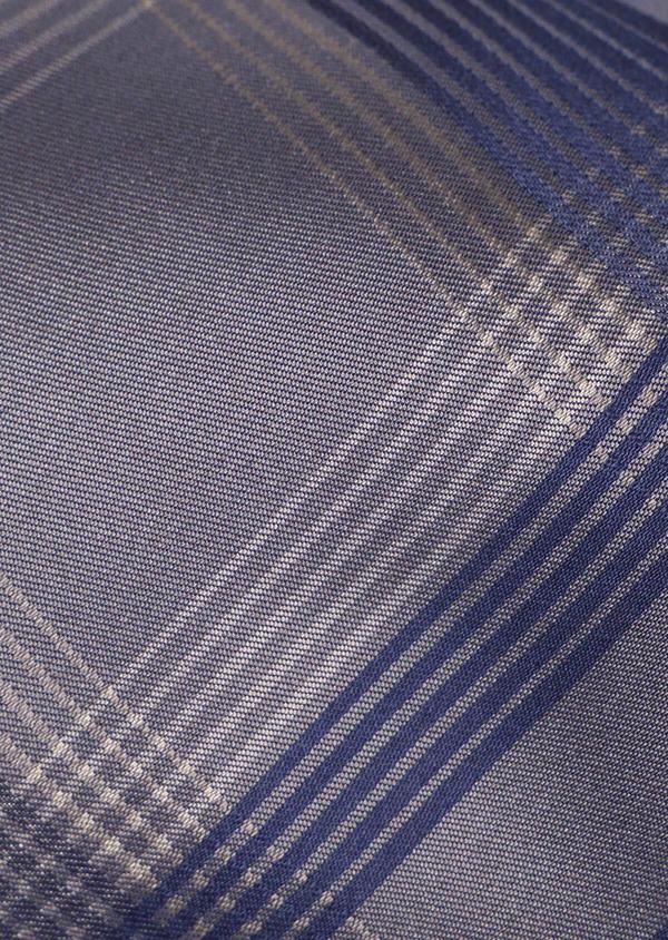 Cravate large en soie à motifs géométriques bleu et taupe - Father and Sons 35169