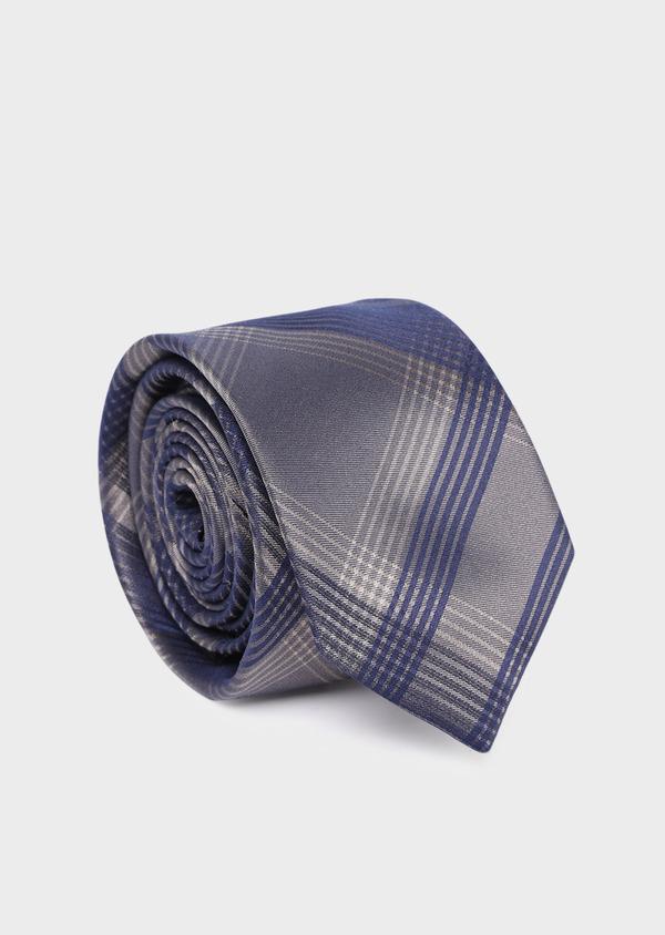 Cravate large en soie à motifs géométriques bleu et taupe - Father and Sons 35168