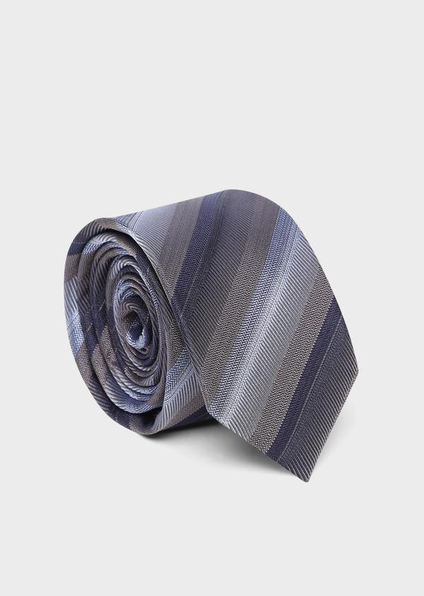 Cravate club large en soie marron, marine et bleu ciel - Father and Sons 35136