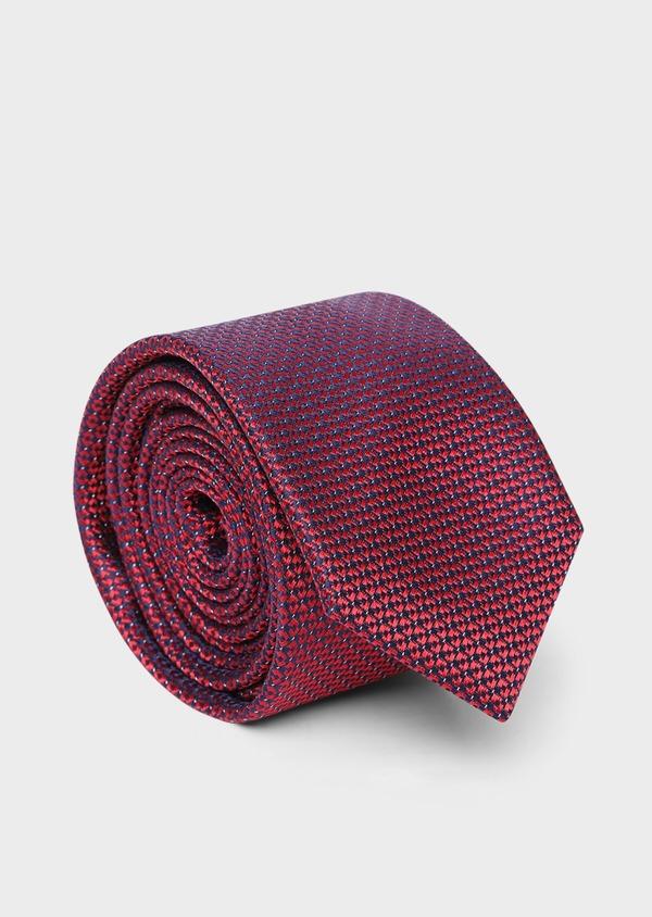 Cravate large en soie rouge à motif fantaisie bleu - Father and Sons 35138