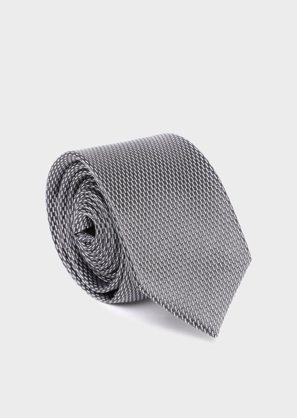 Cravate large en soie à motif fantaisie gris anthracite - Father and Sons 35108