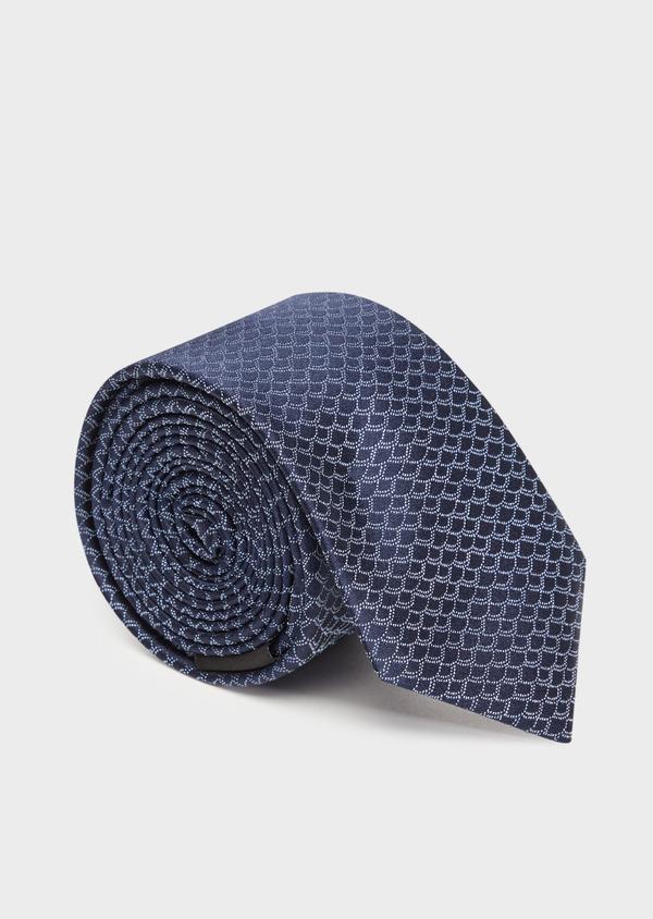 Cravate large en soie à motif fantaisie bleu - Father and Sons 36321