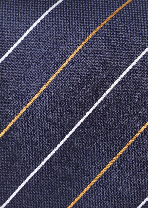 Cravate club large en soie bleu marine, jaune moutarde et blanc - Father and Sons 35127