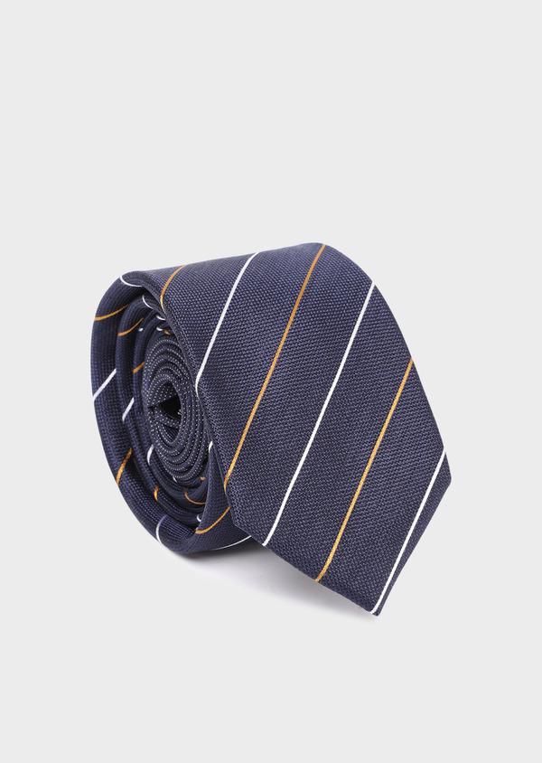 Cravate club large en soie bleu marine, jaune moutarde et blanc - Father and Sons 35126