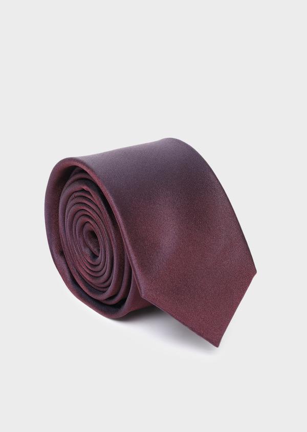 Cravate large en soie unie bordeaux - Father and Sons 35158