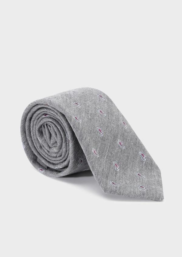 Cravate large en coton et soie gris clair à motif cachemire rouge - Father and Sons 32823
