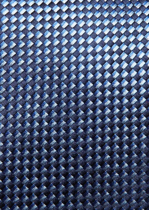 Cravate large en soie bleue à motifs géométriques bleu foncé - Father and Sons 32836