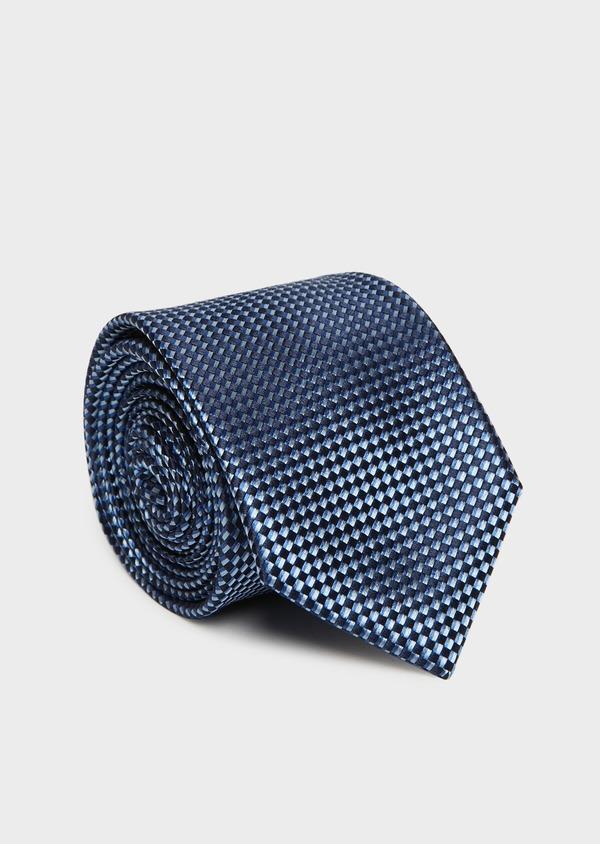 Cravate large en soie bleue à motifs géométriques bleu foncé - Father and Sons 32835