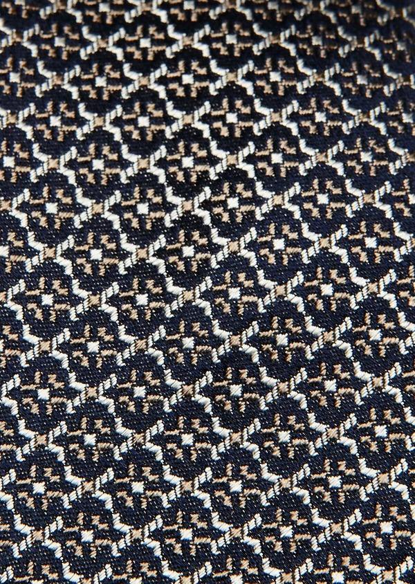 Cravate fine en soie bleue à motif fantaisie écru et beige foncé - Father and Sons 32918