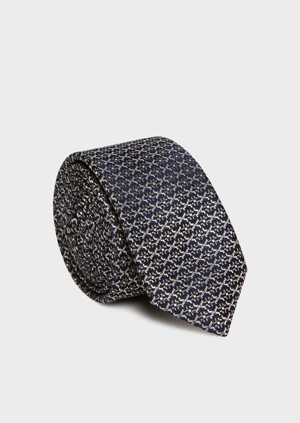 Cravate fine en soie bleue à motif fantaisie écru et beige foncé - Father and Sons 32917