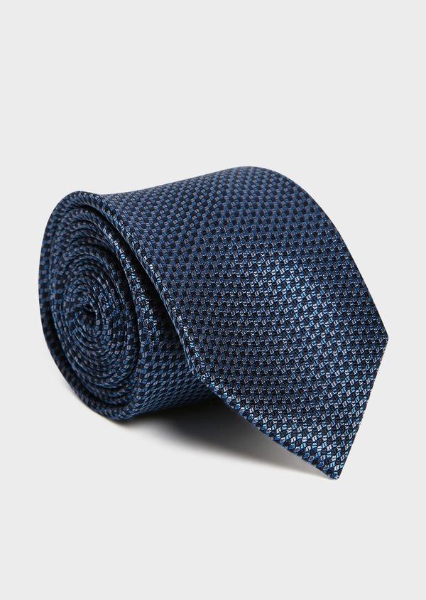 Cravate large en soie bleue à motif fantaisie - Father and Sons 32973