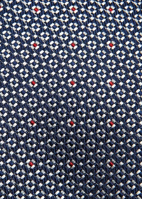 Cravate fine en soie bleu foncé à motif fantaisie gris - Father and Sons 32980