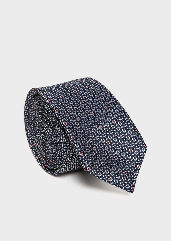 Cravate fine en soie bleu foncé à motif fantaisie gris - Father and Sons 32979