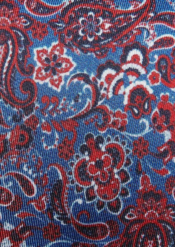 Cravate fine en soie bleue à motif cachemire rose - Father and Sons 32794