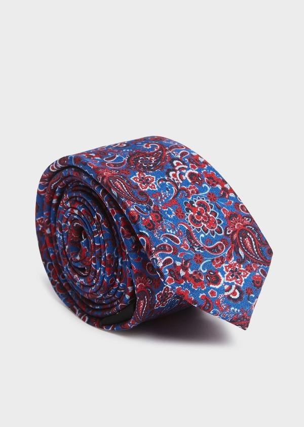 Cravate fine en soie bleue à motif cachemire rose - Father and Sons 32793