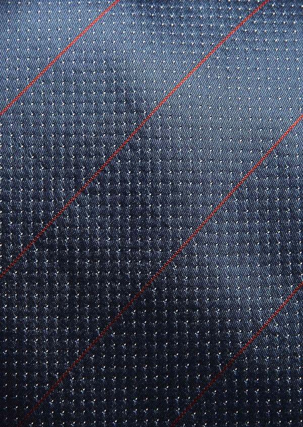 Cravate large en soie bleu gris clair à pois blancs et rayures rouges - Father and Sons 32888
