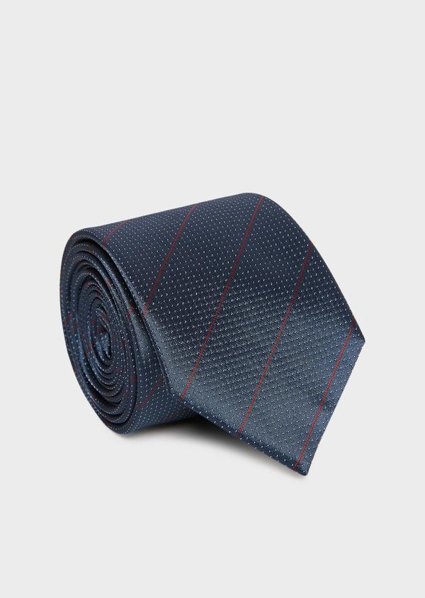Cravate large en soie bleu gris clair à pois blancs et rayures rouges - Father and Sons 32887