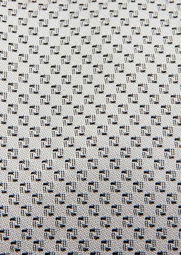 Cravate large en soie gris clair à motif fantaisie noir - Father and Sons 32912