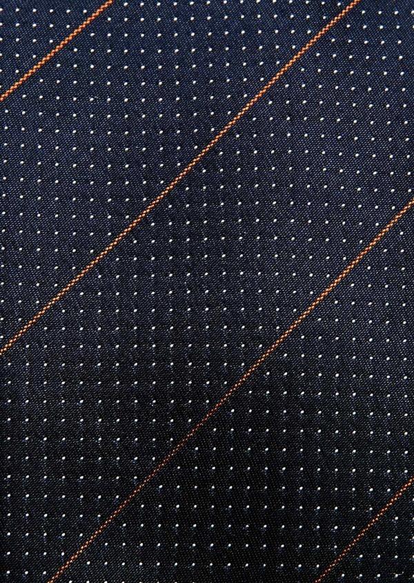 Cravate fine en soie bleu foncé à motif fantaisie blanc - Father and Sons 32966