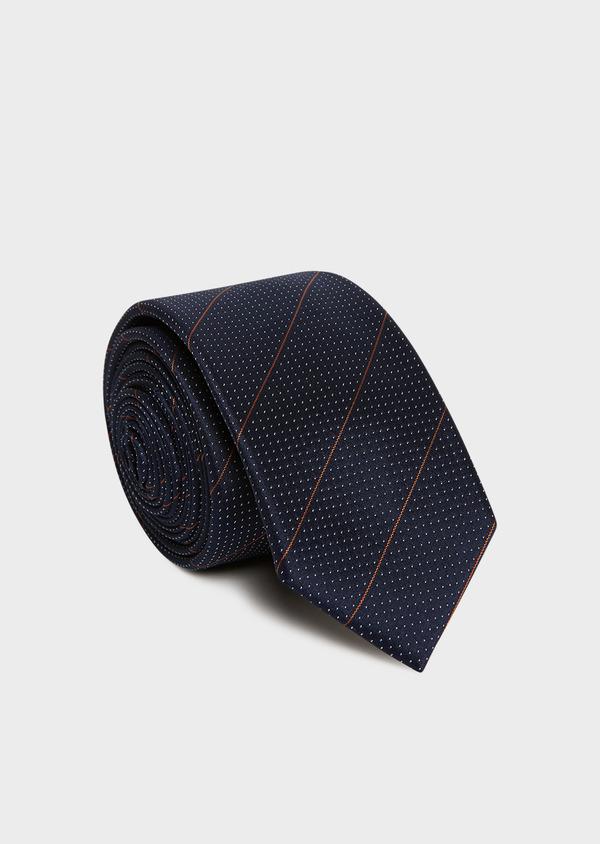 Cravate fine en soie bleu foncé à motif fantaisie blanc - Father and Sons 32965