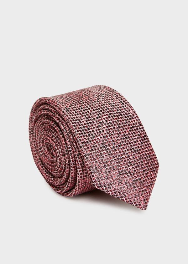 Cravate fine en soie rose à motif fantaisie - Father and Sons 32891