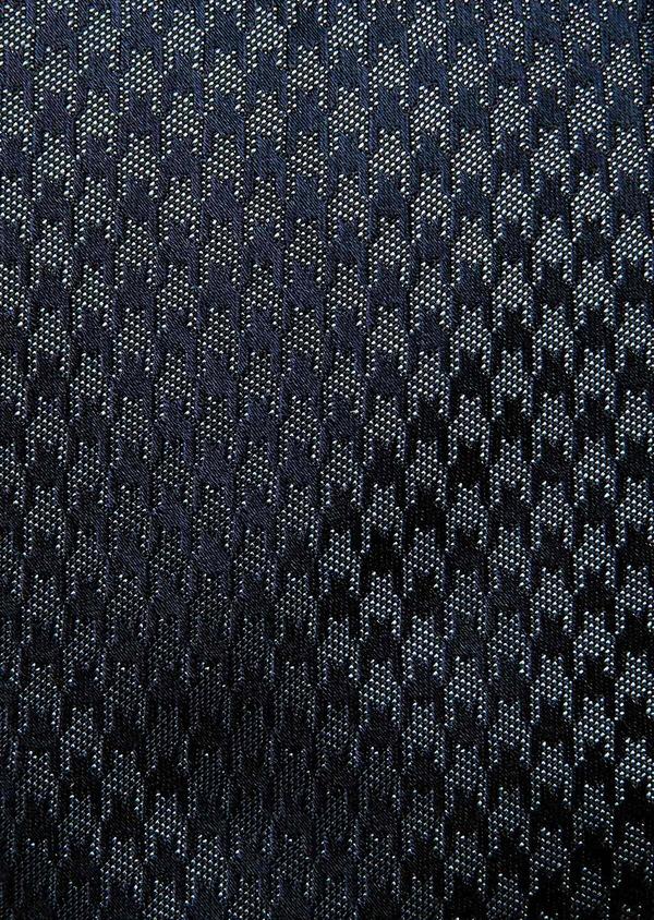 Cravate large en soie bleu marine à motif fantaisie - Father and Sons 32880