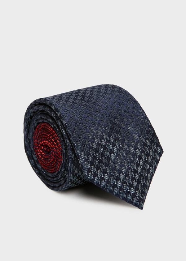 Cravate large en soie bleu marine à motif fantaisie - Father and Sons 32879