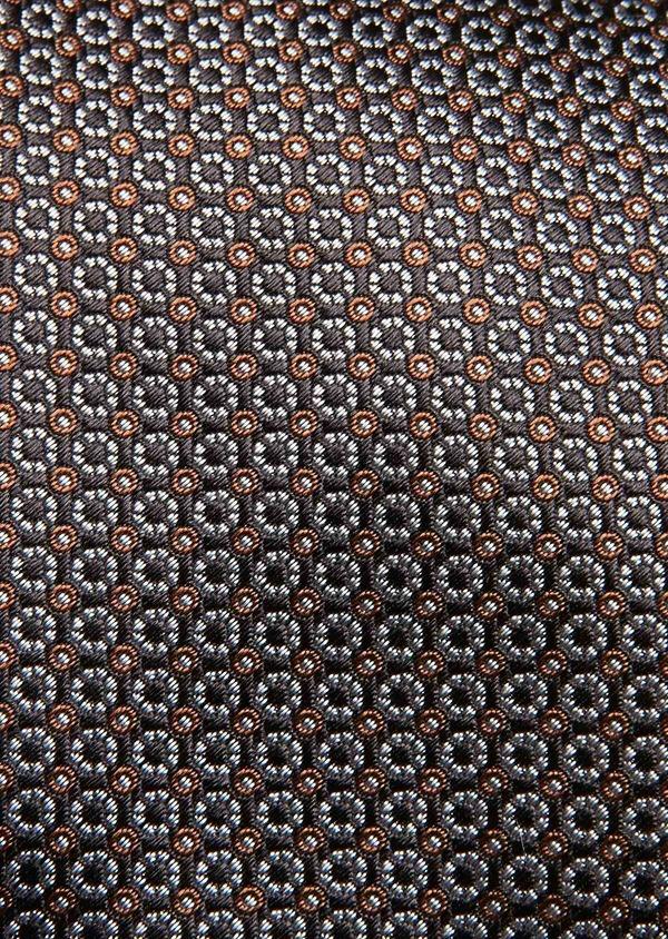 Cravate large en soie marron foncé à motifs géométriques marron clair - Father and Sons 32956
