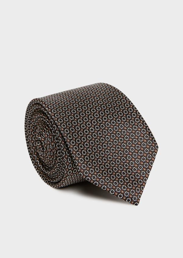 Cravate large en soie marron foncé à motifs géométriques marron clair - Father and Sons 32955
