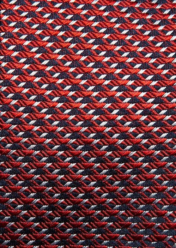 Cravate fine en soie orange à motif fantaisie bleu marine et gris - Father and Sons 32878
