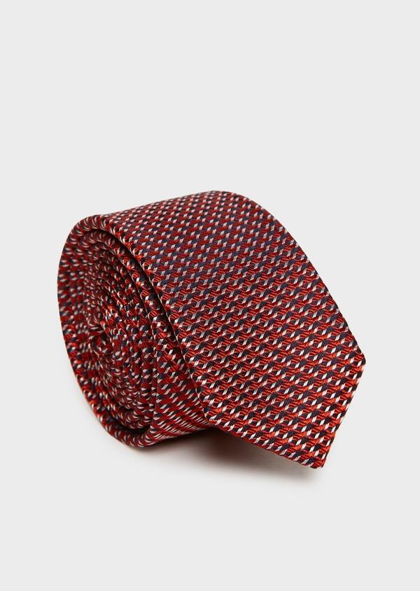 Cravate fine en soie orange à motif fantaisie bleu marine et gris - Father and Sons 32877