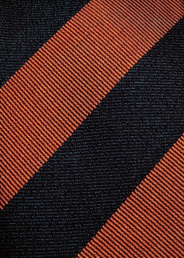 Cravate club fine en soie bleu marine et marron - Father and Sons 32946