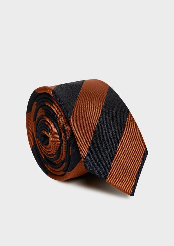 Cravate club fine en soie bleu marine et marron - Father and Sons 32945