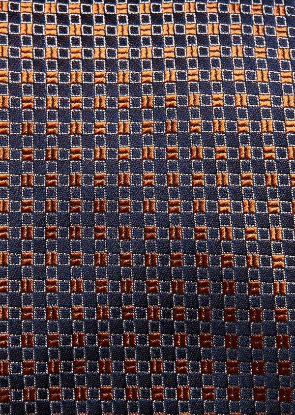 Cravate fine en soie marron à motifs géométriques marron clair - Father and Sons 32960